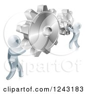 Clipart Of 3d Silver Men Connecting Two Giant Gear Cogs Royalty Free Vector Illustration by AtStockIllustration