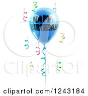 Clipart Of A 3d Blue Happy Birthday Balloon And Colorful Ribbon Confetti Royalty Free Vector Illustration