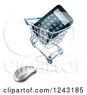 Clipart Of A 3d Computer Mouse Wired To A Shopping Cart With A Calculator Royalty Free Vector Illustration