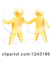 Poster, Art Print Of 3d Gold Men Shaking Hands And One Gesturing