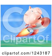 Clipart Of A 3d Piggy Bank Riding A Rocket Over A Valley Royalty Free Vector Illustration