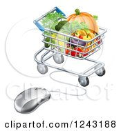 Clipart Of A 3d Online Grocery Shopping Icon Of A Computer Mouse And Cart Of Produce Royalty Free Vector Illustration by AtStockIllustration