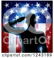 Clipart Of A Silhouetted Military Veteran Saluting Over An American Flag And Bursts Royalty Free Vector Illustration by AtStockIllustration