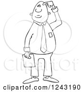 Clipart Of A Black And White Confused Businessman Scratching His Head Royalty Free Vector Illustration by djart