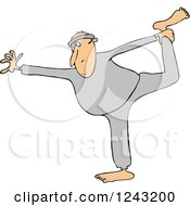 Clipart Of A Chubby White Man Stretching Or Doing Yoga Royalty Free Vector Illustration by djart