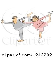 Clipart Of A Chubby Caucasian Couple Stretching Or Doing Yoga Royalty Free Vector Illustration by Dennis Cox