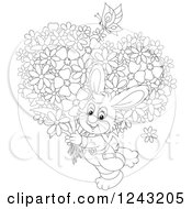 Clipart Of A Black And White Happy Bunny Rabit Carrying Flowers Royalty Free Vector Illustration