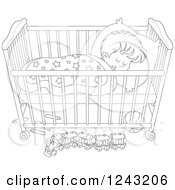 Black And White Toddler Boy Sleeping In A Crib