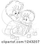 Clipart Of A Black And White Father Reading A Story Book To His Son Royalty Free Vector Illustration by Alex Bannykh