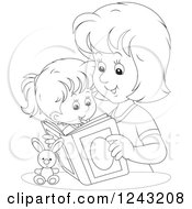 Clipart Of A Black And White Mother Reading A Story Book To Her Daughter Royalty Free Vector Illustration