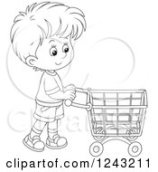 Clipart Of A Black And White Boy Pushing A Shopping Cart Royalty Free Vector Illustration by Alex Bannykh
