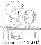 Clipart Of A Black And White School Boy With A Globe At A Desk Royalty Free Vector Illustration by Alex Bannykh