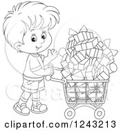 Clipart Of A Black And White Boy Pushing A Shopping Cart Full Of Presents Royalty Free Vector Illustration