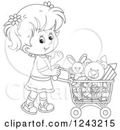 Clipart Of A Black And White Girl Pushing A Shopping Cart Full Of Toys Royalty Free Vector Illustration by Alex Bannykh