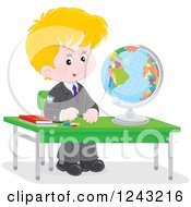 Blond Caucasian School Boy With A Globe At A Desk