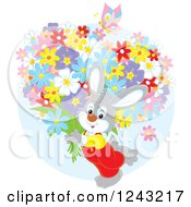 Clipart Of A Happy Gray Bunny Rabit Carrying Flowers Royalty Free Vector Illustration