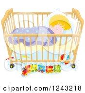 Blond Caucasian Toddler Boy Sleeping In A Crib