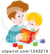 Clipart Of A Happy Caucasian Father Reading A Story Book To His Son Royalty Free Vector Illustration by Alex Bannykh