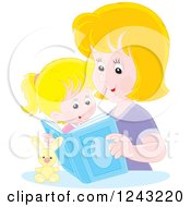 Clipart Of A Happy Caucasian Mother Reading A Story Book To Her Daughter Royalty Free Vector Illustration