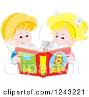 Clipart Of A Happy Caucasian Boy And Girl Reading A Story Book To Their Cat Royalty Free Vector Illustration