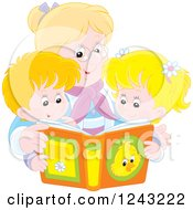 Clipart Of A Happy Caucasian Granny Reading A Story Book To Her Grandchildren Royalty Free Vector Illustration