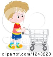 Clipart Of A White Boy Pushing A Shopping Cart Royalty Free Vector Illustration by Alex Bannykh