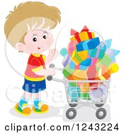 Clipart Of A White Boy Pushing A Shopping Cart Full Of Presents Royalty Free Vector Illustration