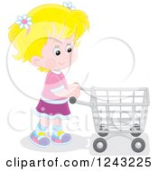 Clipart Of A Blond Caucasian Girl Pushing A Shopping Cart Royalty Free Vector Illustration by Alex Bannykh