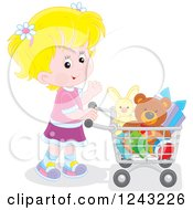 Clipart Of A Blond Caucasian Girl Pushing A Shopping Cart Full Of Toys Royalty Free Vector Illustration by Alex Bannykh