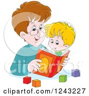 Clipart Of A Caucasian Father Reading A Story Book To His Son Royalty Free Vector Illustration