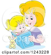 Clipart Of A Happy Blond Mother Reading A Story Book To Her Daughter Royalty Free Vector Illustration