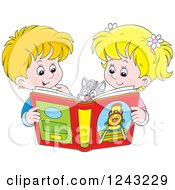 Clipart Of A Happy Blond Boy And Girl Reading A Story Book To Their Cat Royalty Free Vector Illustration
