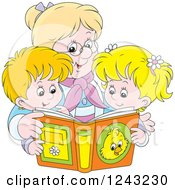 Clipart Of A Happy Blond Granny Reading A Story Book To Her Grandchildren Royalty Free Vector Illustration