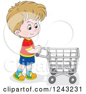 Clipart Of A Caucasian Boy Pushing A Shopping Cart Royalty Free Vector Illustration