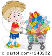 Clipart Of A Caucasian Boy Pushing A Shopping Cart Full Of Presents Royalty Free Vector Illustration