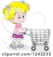 Clipart Of A Blond Girl Pushing A Shopping Cart Royalty Free Vector Illustration