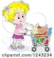 Clipart Of A Blond Girl Pushing A Shopping Cart Full Of Toys Royalty Free Vector Illustration by Alex Bannykh