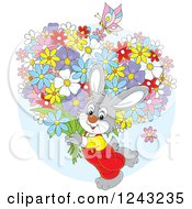 Clipart Of A Gray Bunny Rabit Carrying Flowers Royalty Free Vector Illustration by Alex Bannykh