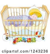 Blond Toddler Boy Sleeping In A Crib
