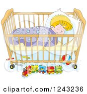 Clipart Of A Blond Toddler Boy Sleeping In A Crib Royalty Free Vector Illustration