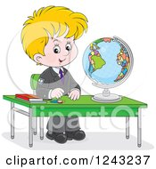 Clipart Of A Blond School Boy With A Globe At A Desk Royalty Free Vector Illustration by Alex Bannykh