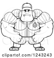 Clipart Of A Black And White Mad Brute Muscular Baseball Player Man Royalty Free Vector Illustration