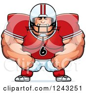 Clipart Of A Mad Brute Muscular Football Player Royalty Free Vector Illustration
