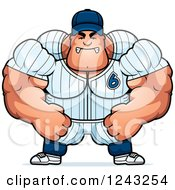 Clipart Of A Mad Brute Muscular Baseball Player Man Royalty Free Vector Illustration by Cory Thoman