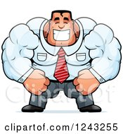 Clipart Of A Brute Muscular Caucasian Businessman Smiling Royalty Free Vector Illustration
