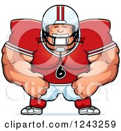 Clipart Of A Caucasian Brute Muscular Football Player Man Grinning Royalty Free Vector Illustration