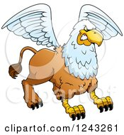Clipart Of A Defensive Aggressive Griffin Royalty Free Vector Illustration