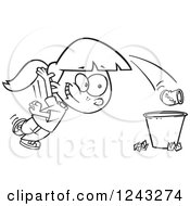 Clipart Of A Black And White Cartoon Girl Tossing Garbage In The Trash Royalty Free Vector Illustration