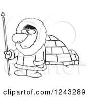 Clipart Of A Black And White Cartoon Eskimo Hunter Man By An Igloo Royalty Free Vector Illustration by toonaday