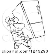 Clipart Of A Black And White Cartoon Delivery Man Carrying A Fridge Royalty Free Vector Illustration by toonaday
